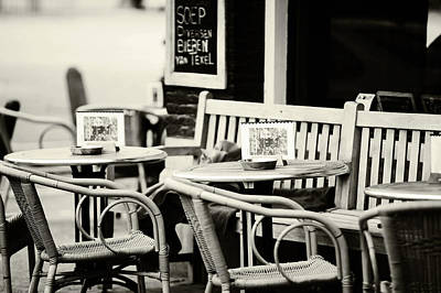 Photograph - Street Cafe In Amsterdam. Black And White by Jenny Rainbow