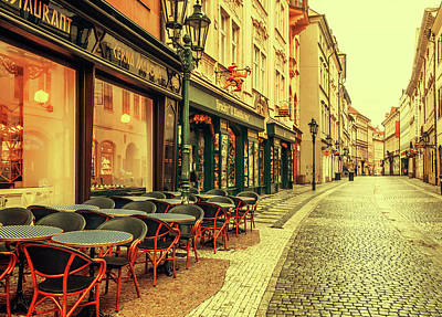 Photograph - Street Cafe. Series Golden Prague by Jenny Rainbow