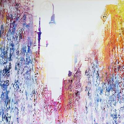 Interior Scene Mixed Media - Street Canyon by Nica Art Studio
