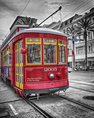 Photograph - Street Car Crossing Bourbon Street by Susan Rissi Tregoning