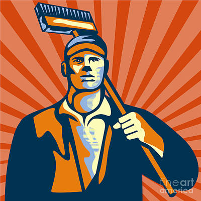 Sweeps Digital Art - Street Cleaner Holding Broom Front Retro by Aloysius Patrimonio