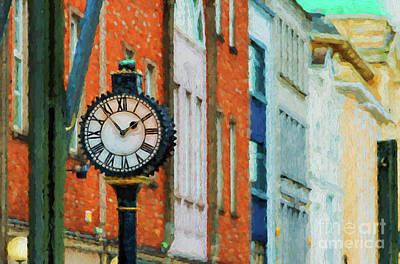 Digital Art - Street Clock In Cork by Les Palenik