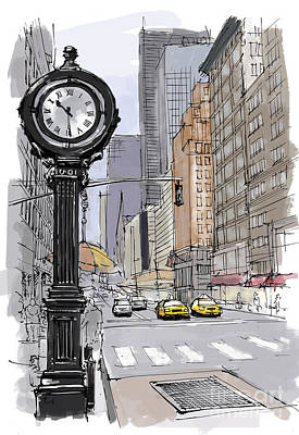 Pastel Drawing Drawing - Street Clock On 5th Avenue Handmade Sketch by Pablo Franchi