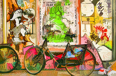 Lodging Painting - Street Coloured Graffiti On Wall And Bicycle On Sidewalk by Lanjee Chee