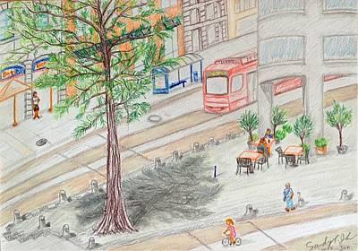 Oktoberfest Drawing - Street Corner Of Munich by Jo lan Tao