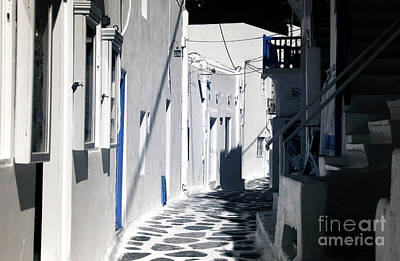 Photograph - Street Curves In Mykonos Infrared by John Rizzuto