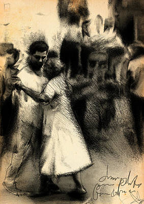 Mixed-media Drawing - Street Dance by H James Hoff