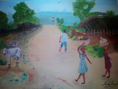 Art Print featuring the painting Street Dawn Activities by Nicole Jean-Louis