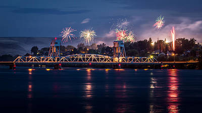Lewiston Photograph - Street Fireworks By The Blue Bridge by Brad Stinson