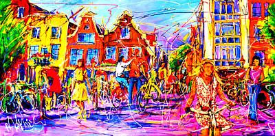 Girl On Bike Painting - Street Girl Amsterdam by Mathias