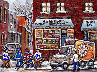 Hockey Art Boys Playing Hockey Painting - Street Hockey And Borden's Milk Man At Richstone Bakery And Quick Deli Montreal Memories Painting   by Carole Spandau