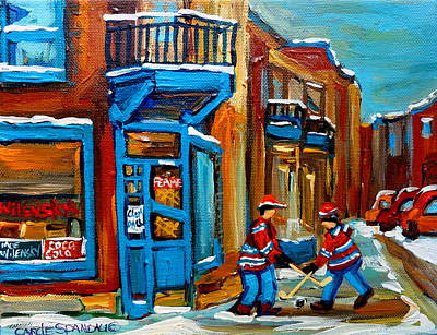 Montreal Street Life Painting - Street Hockey At Wilensky's Montreal by Carole Spandau