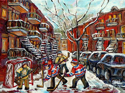 Painting - Street Hockey Canadian Winter Scene C Spandau Paints Montreal Winding Staircases Plateau Verdun Psc  by Carole Spandau