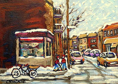 Of Verdun Montreal Winter Street Scenes Montreal Art Carole Painting - Street Hockey Corner Verdun Depanneur Urban Winter Paintings Best Authentic Original Montreal Art  by Carole Spandau