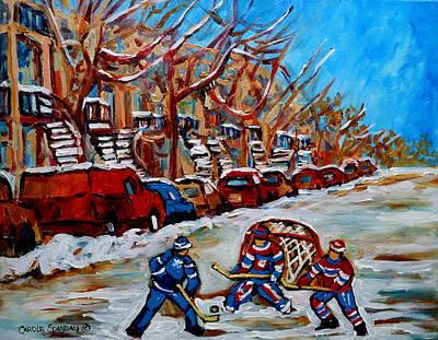Afterschool Hockey Painting - Street Hockey Hotel De Ville by Carole Spandau