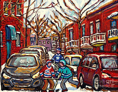 Painting - Street Hockey Art Montreal Scene Kids Enjoy Winter Snow Christmas In The City Canadian Art C Spandau by Carole Spandau