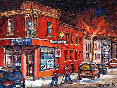 Montreal Memories Painting - Street Hockey Night Scene Painting 4 Saisons Depanneur Rue St Dominique And Pine Montreal Scene Art by Carole Spandau