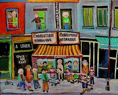 Painting - Street Hockey On The Main Schwartz's by Michael Litvack