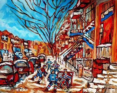Quebec Art Painting - Street Hockey Painting Winter City Scene Verdun Montreal Staircase Canadian Art Carole Spandau by Carole Spandau
