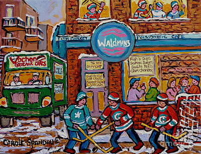 Montreal Storefronts Painting - Street Hockey Plateau Mont Royal Winter Scene Waldman's Fish Market And Vachon Truck Carole Spandau  by Carole Spandau