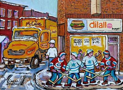 Painting - Street Hockey St Henri Dilallo Burger And Mccain's Truck Canadian Art Carole Spandau                by Carole Spandau