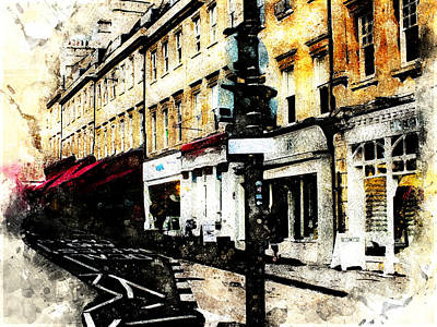 Digital Art - street in Bath by Art Di