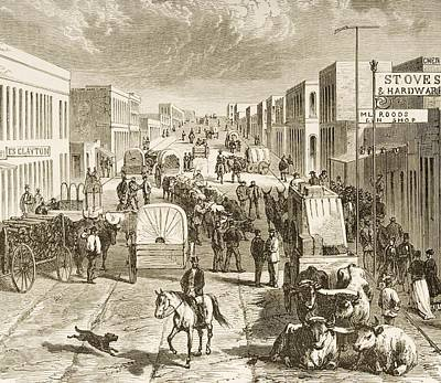 Drawing Of A Horse Drawing - Street In Denver Colorado In 1870s by Vintage Design Pics