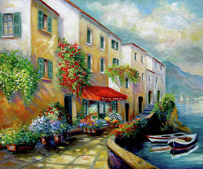 European Street Scene Painting - Street In Italy By The Sea by Regina Femrite