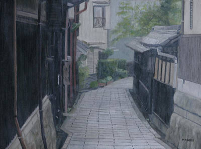 Painting - street in Japan by Masami Iida