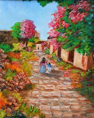 Painting - Street In Monemvasia by Constantinos Charalampopoulos