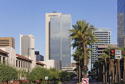 Stop Sign Photograph - Street In Phoenix With Chase Building In Background by Jeremy Woodhouse