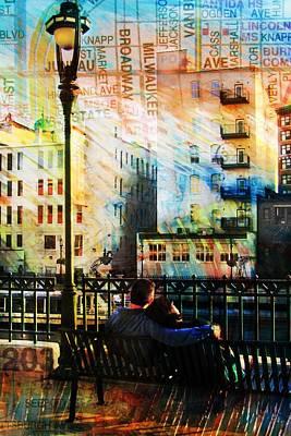 Street Lamps Digital Art - Street Lamp Bench Abstract W Map by Anita Burgermeister