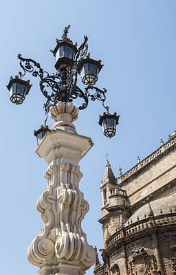 Street Lamp - Cathedral Of Seville - Seville Spain Art Print