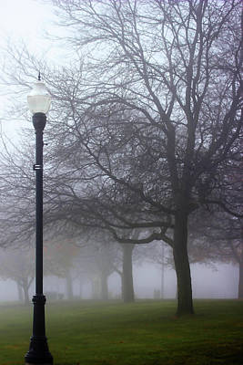 Photograph - Street Lamp In Fog 1 by Mary Bedy