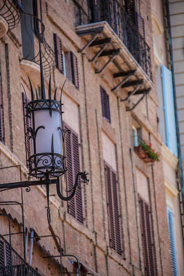 Science Tees Rights Managed Images - Street Lamp in Siena Italy  Royalty-Free Image by John McGraw