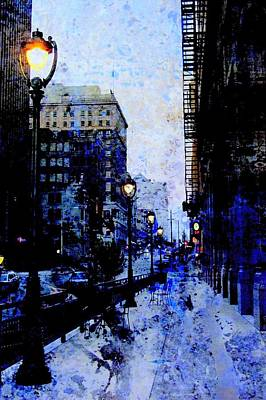 Fusion Digital Art - Street Lamps Sidewalk Abstract by Anita Burgermeister