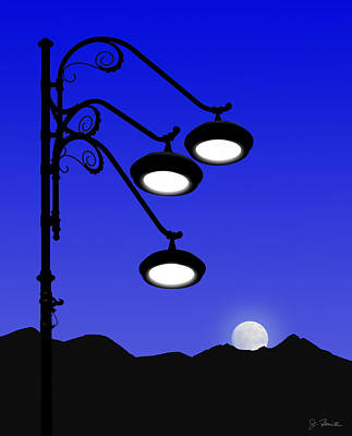 Photograph - Street Light And Moonrise by Joe Bonita