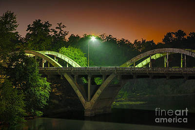 Photograph - Street Light On Rogue River Bridge by Jerry Cowart