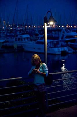 Street Light Texting Print by Tom Dowd
