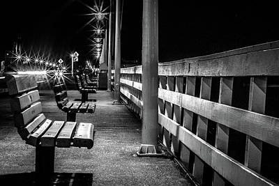 Photograph - Santa Cruz Wharf At Night by Randy Bayne