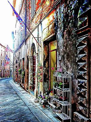 Photograph - Street Lined With Flags Citta Della Pieve by Dorothy Berry-Lound