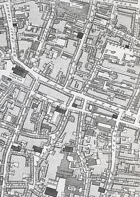 London Drawing - Street Map Of London Around Guildhall by Richard Horwood