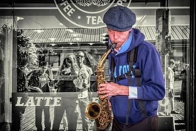 Musicians Royalty Free Images - Street Musician at Starbucks Royalty-Free Image by Spencer McDonald