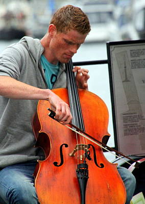 Photograph - Street Musician In Bergen by Laurel Talabere