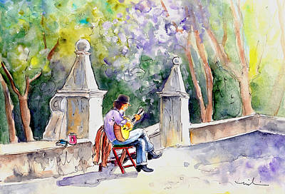 Painting - Street Musician In Pollenca by Miki De Goodaboom