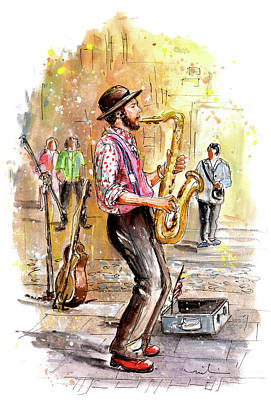 Painting - Street Musician In York 01 by Miki De Goodaboom