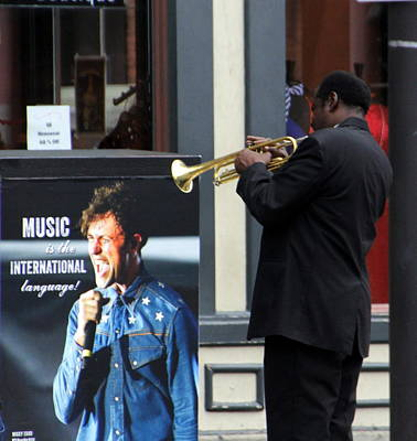 Music Royalty-Free and Rights-Managed Images - Street Musician with Trumpet by Valerie Collins