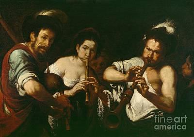 Bagpipe Painting - Street Musicians by Bernardo Strozzi