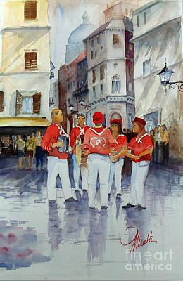 Street Muscians Wall Art - Painting - Musicisti Di Strada Italiano by Gerald Miraldi