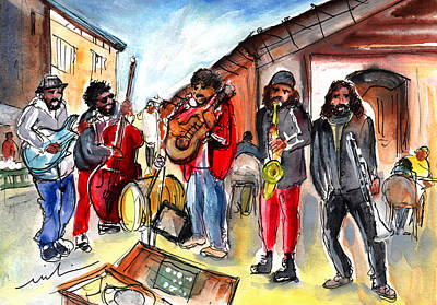 Painting - Street Musicians In Sineu In Majorca by Miki De Goodaboom